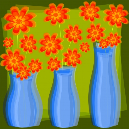 abstract background with three pots of flowers
