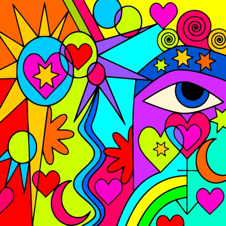 her: abstract background with colorful symbols