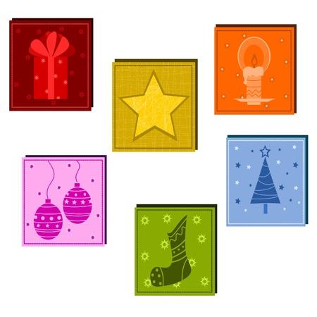 festones: De fondo de Navidad con s�mbolos abstractos Vectores