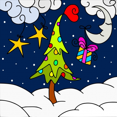 Abstract background with Christmas tree and snow Vector