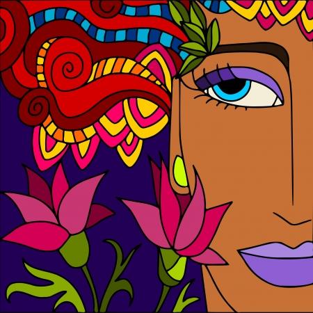 серьги: абстрактный фон с женское лицо Иллюстрация