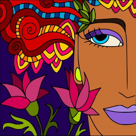 fantasy makeup: abstract background with womans face Illustration
