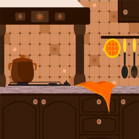 background with rustic kitchen walnut Vector