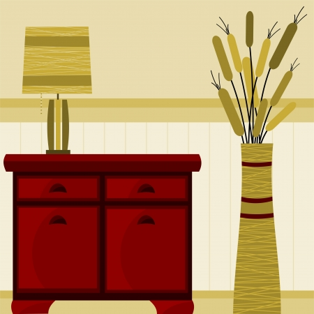background with furniture and lamp Vector