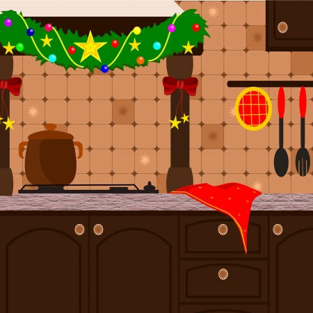background with rustic kitchen decked out for Christmas Vector