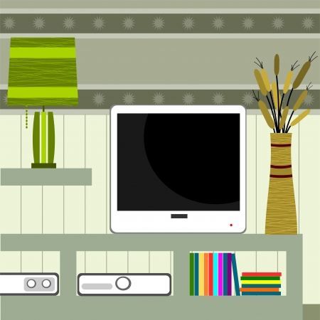 tv room: background with mobile tv and lamp Illustration