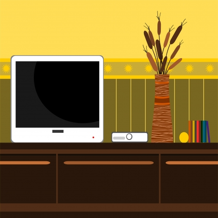 background with mobile TV and vase of flowers Vector