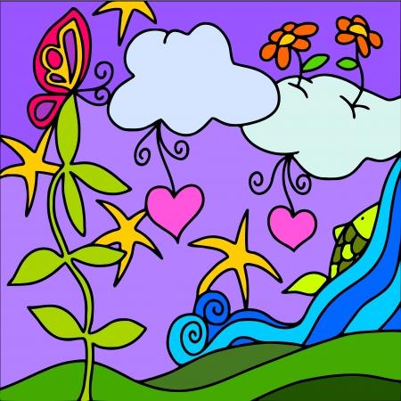 eden: abstrakten Hintergrund mit Wasserfall und Wolken Illustration