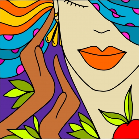 closed mouth: abstract background with womans face Illustration