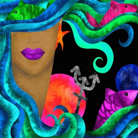 neptun: abstrakten Hintergrund mit Zeichen des Tierkreises - Fische Lizenzfreie Bilder