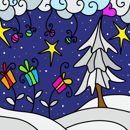 abstract background with Christmas landscape Stock Photo - 15999937