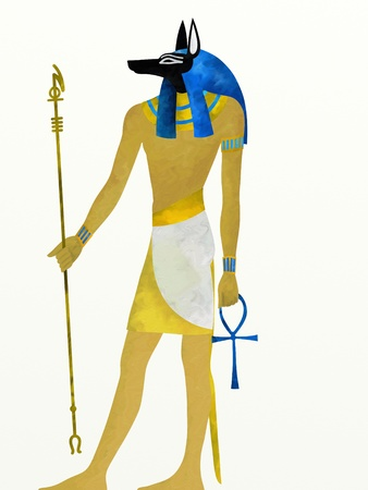 illustration with Anubis god of the dead illustration