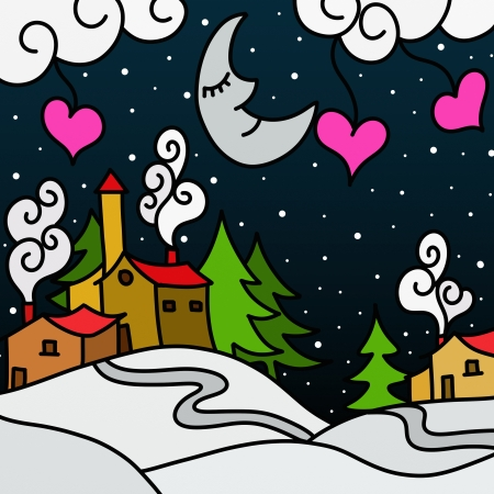 Drawing with  winter landscape abstract Stock Photo - 16184134