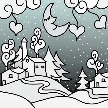 country church: Drawing with winter landscape abstract Stock Photo