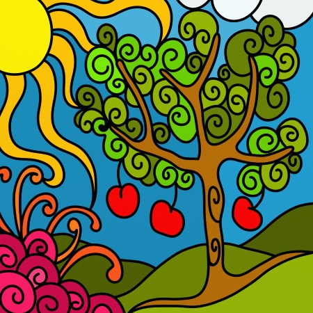 abstract background with apple tree photo