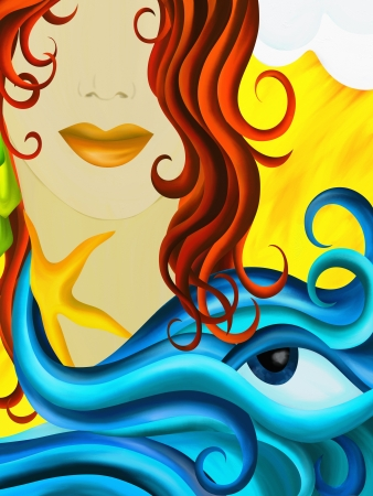 background with face of a woman and water photo