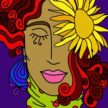 background with face of a woman with sunflower photo