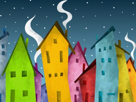 abstract background with colorful houses and snow photo
