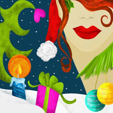 Christmas abstract background with woman's face Stock Photo - 16404346