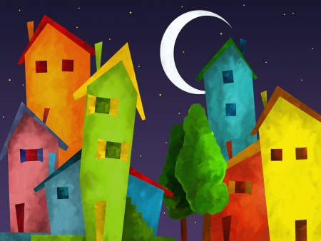 abstract background with fancy houses Stock Photo - 16404347
