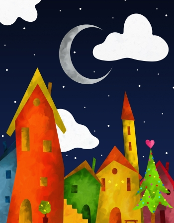 christmas house: background with colorful country at Christmas
