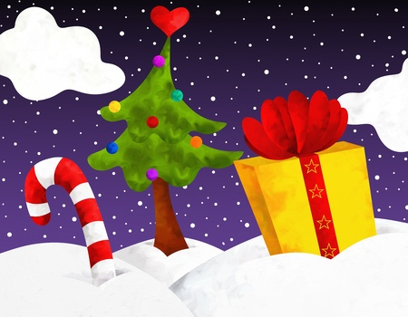abstract Christmas illustration with gift Stock Illustration - 16671368
