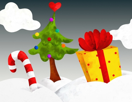 Christmas illustration with gift and tree Stock Illustration - 16671370