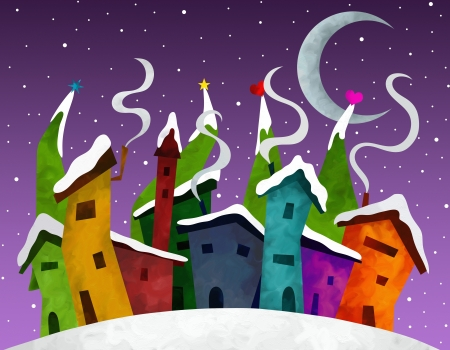 Christmas illustration with abstract houses illustration