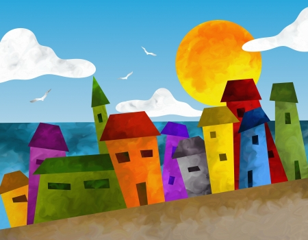 fantasy landscape with colorful houses photo
