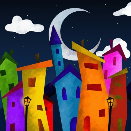 fantasy landscape with colorful houses at night Stock Photo - 17045154