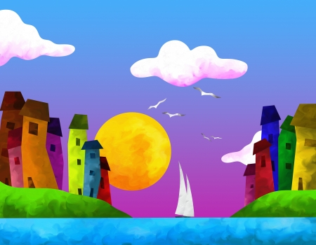 abstract landscape with colorful houses in summer Stock Photo - 17100648