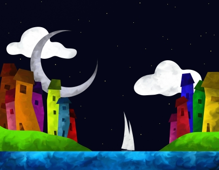abstract landscape with colorful houses on the sea Stock Photo - 17100629