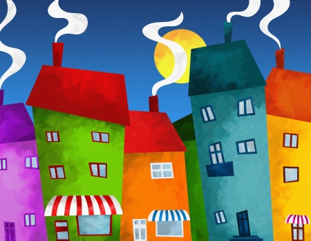 abstract background with houses and shops photo