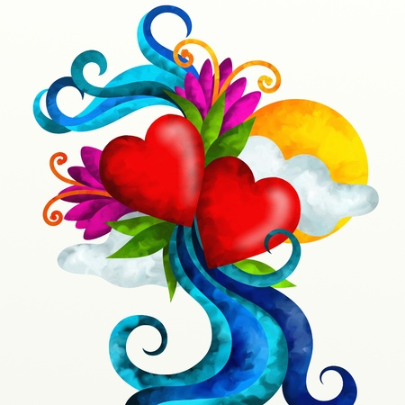 abstract illustration with two hearts and decorations Stock Illustration - 17446438
