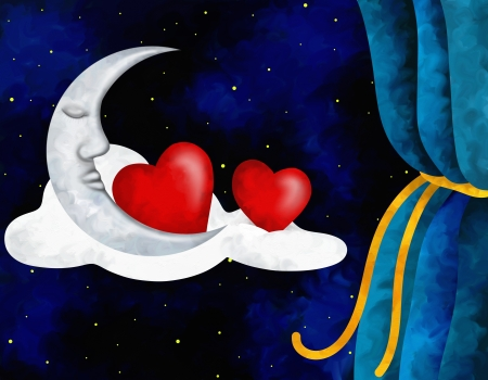 abstract illustration with hearts and moon Stock Illustration - 17446435
