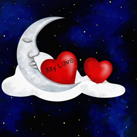 abstract illustration with two hearts and moon illustration