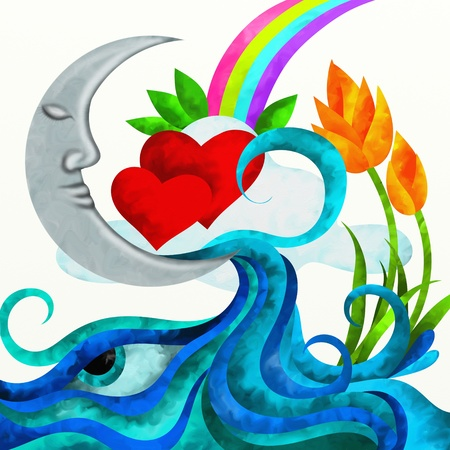 abstract design with moon and hearts with white background photo