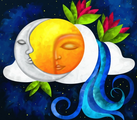 abstract background with sun and moon Stock Photo
