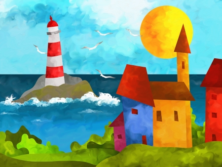 abstract landscape with houses and lighthouse photo