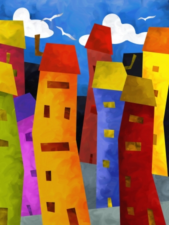 abstract background with colorful buildings photo