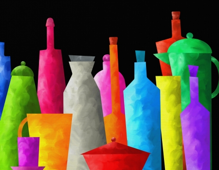 abstract background with colored bottles photo