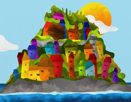 island with colorful houses abstract photo
