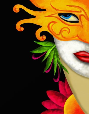 abstract design with woman and carnival mask yellow photo