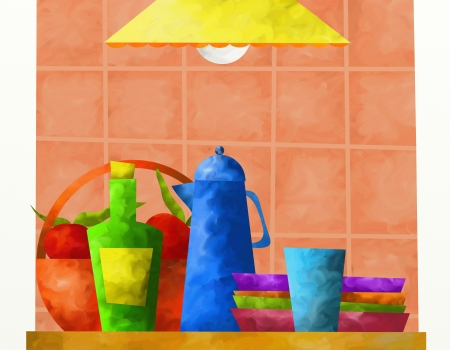 tea basket: abstract background with kitchen utensils