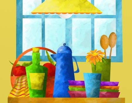 cruet: abstract background with kitchen utensils