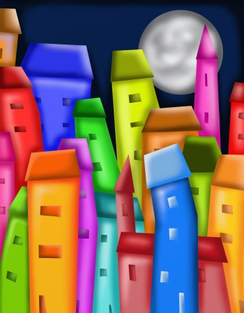 abstract background with colorful houses photo