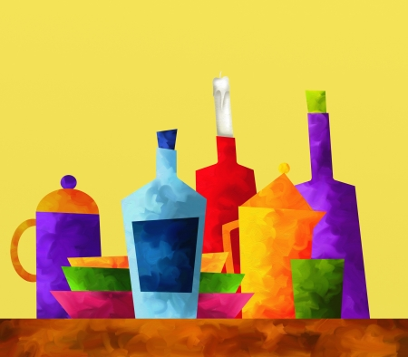 cruet: abstract background with colored bottles
