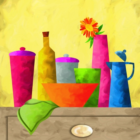 abstract background with bottles and towel photo