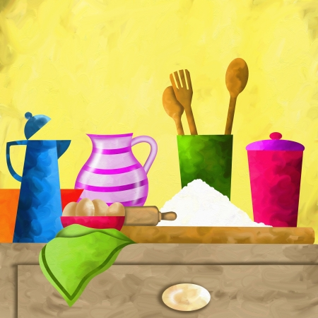 abstract background with ingredients on the table photo