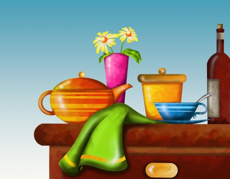 background with table and breakfast Stock Photo - 18290475